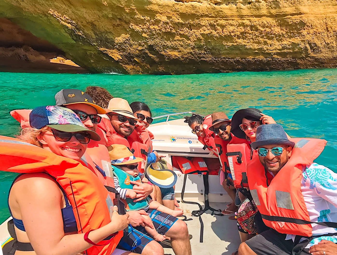 People wearing lifejackets on Benagil boat tour