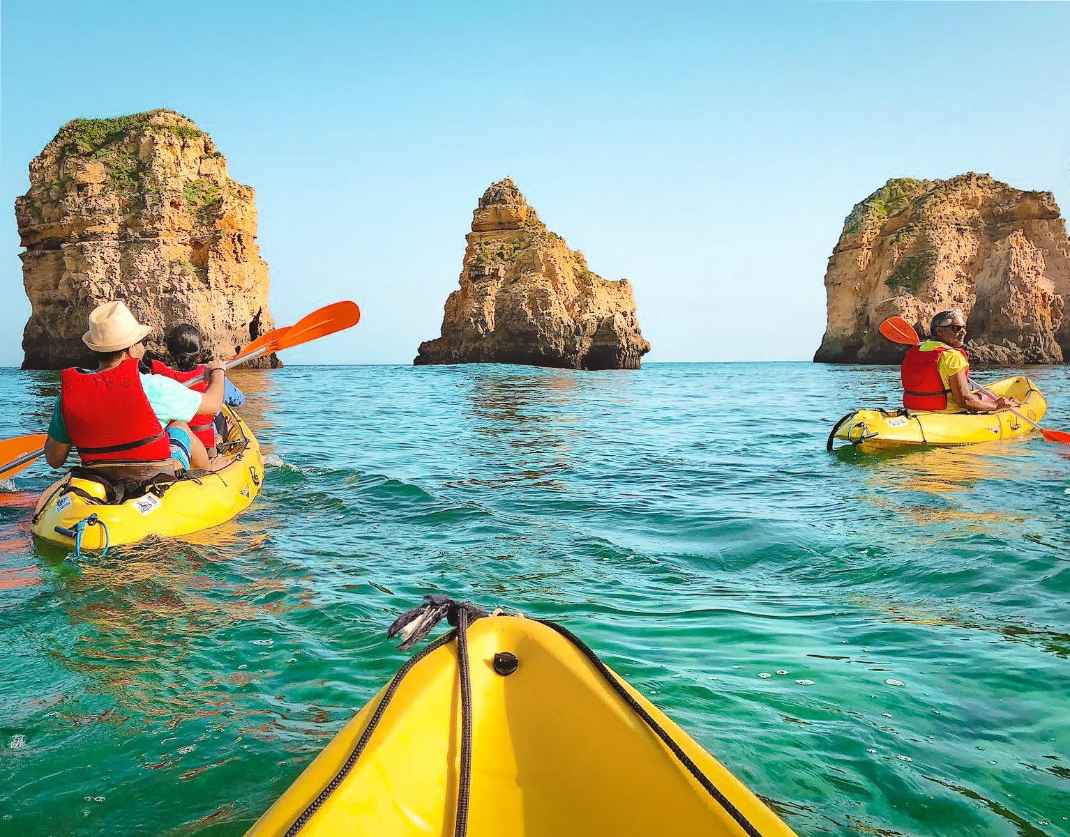 View of Lagos cliffs while kayaking