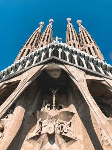Sagrada Familia's passion facade depicting crucifixion