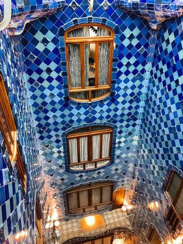 Blue lightwell inside Casa Batllo
