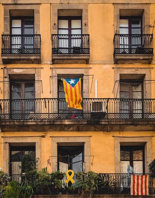 Barcelona balcony with Catalan flag