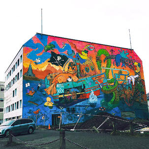 Colorful graffiti on building in Reykjavík