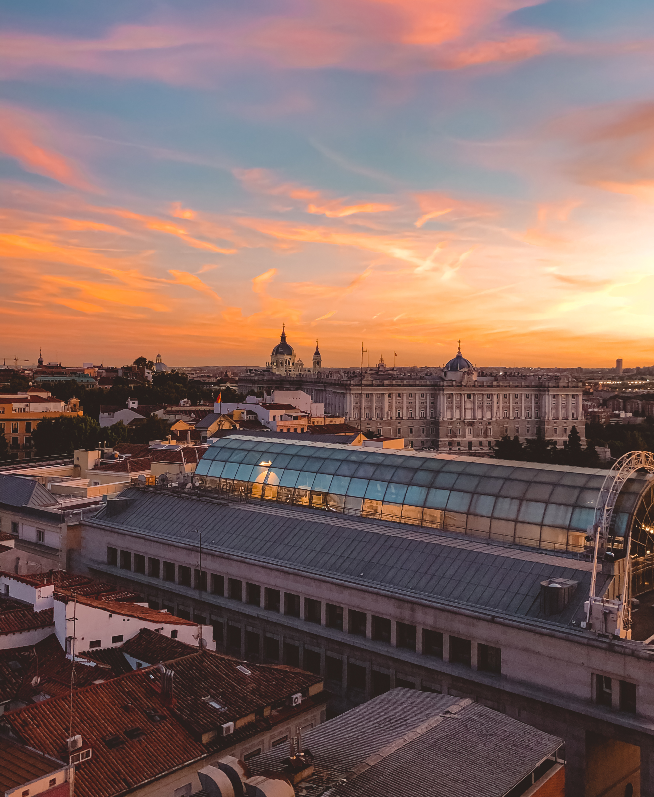 Sunset view Royal Palace Madrid