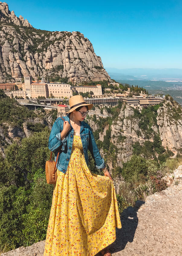 Muslim travel blogger hiking Montserrat