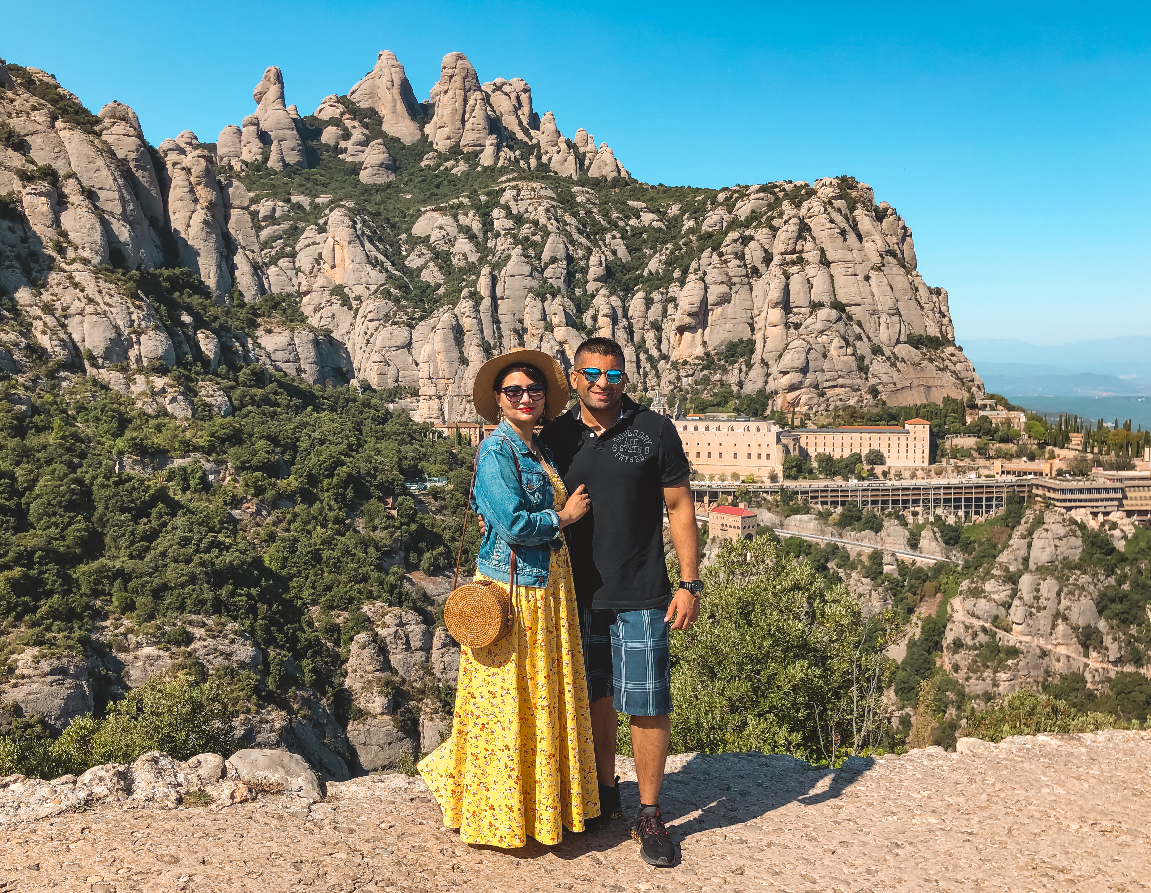 Muslim travel couple at Montserrat Spain