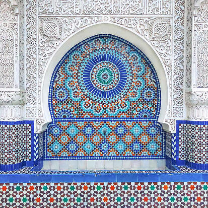 Grand Mosque of Paris Moorish blue fountain