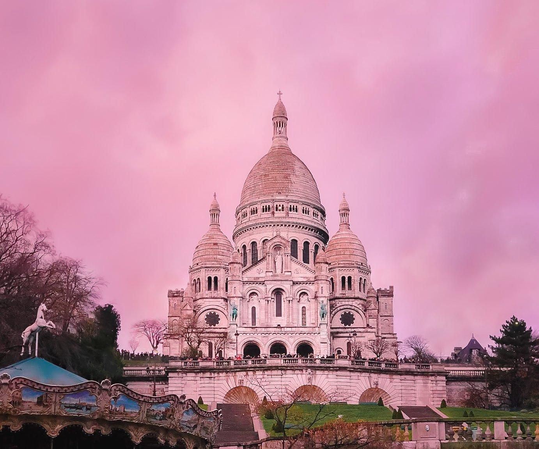 Sacre Coeur pink sunset