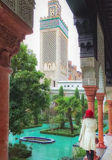 Muslim blogger at Grand Mosque of Paris