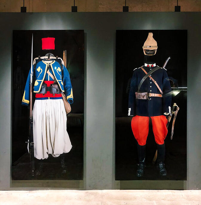 Outfits of warriors of France inside Arc de Triomphe