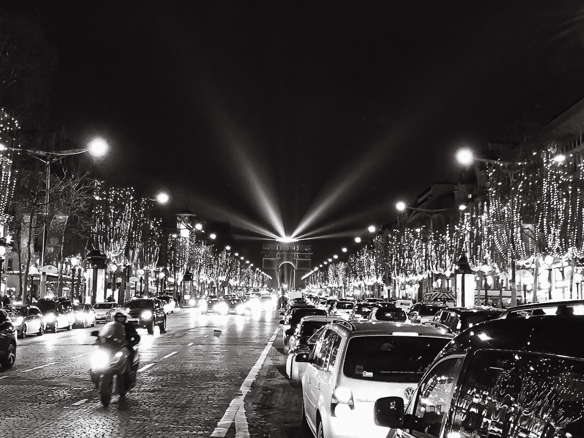 Black and white lights on Champs-Elysees in Paris