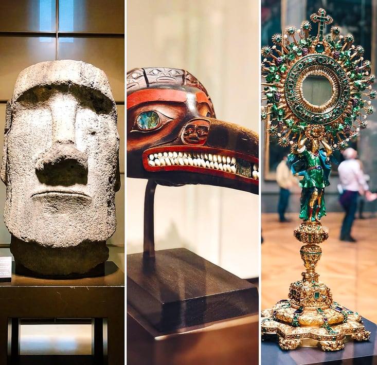 Exhibits inside Louvre Museum