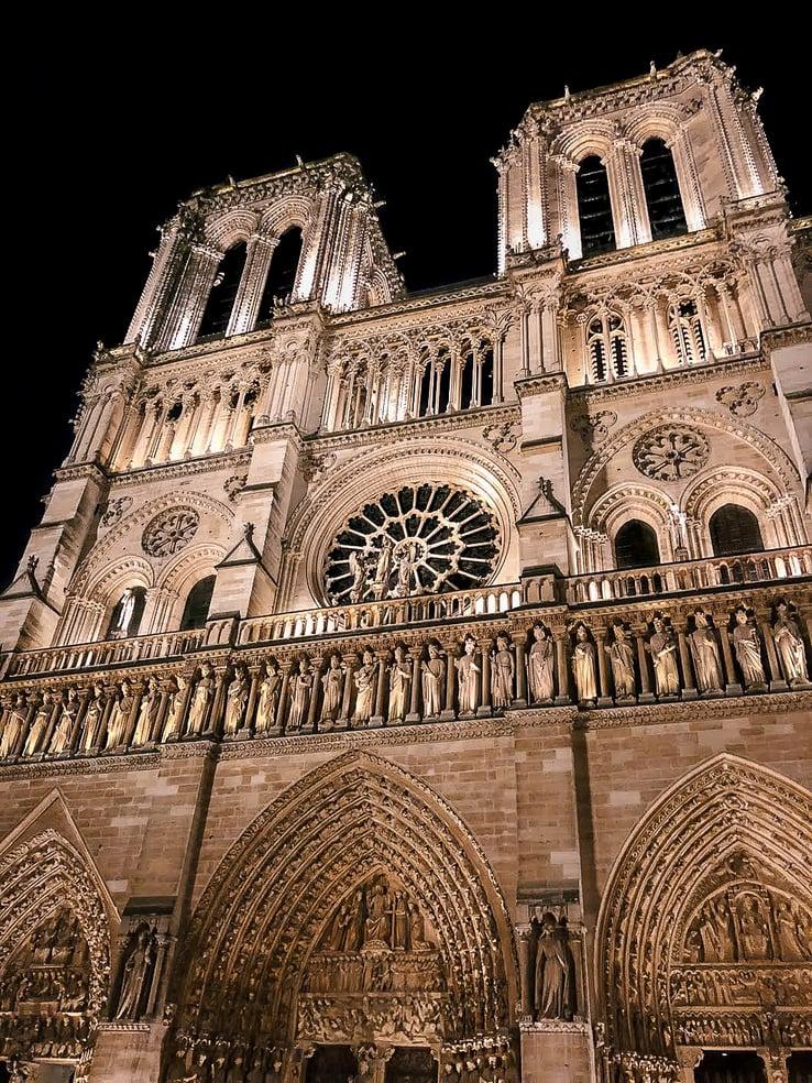 Notre-Dame facade at night