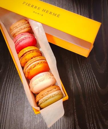 Halal macrons in orange Pierre Herme box