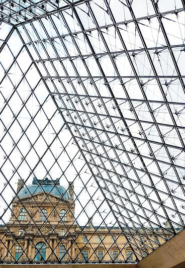 View from inside Louvre Museum glass pyramid