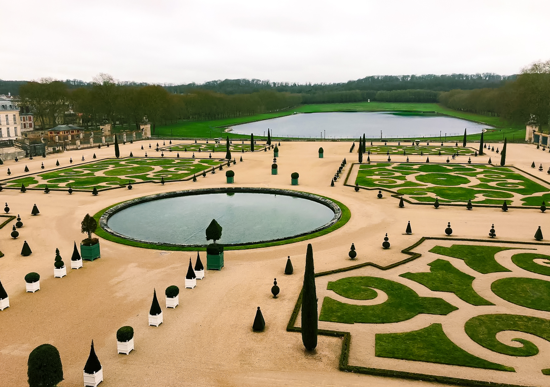 Manicured hedges in the garden of Palace of Versailles