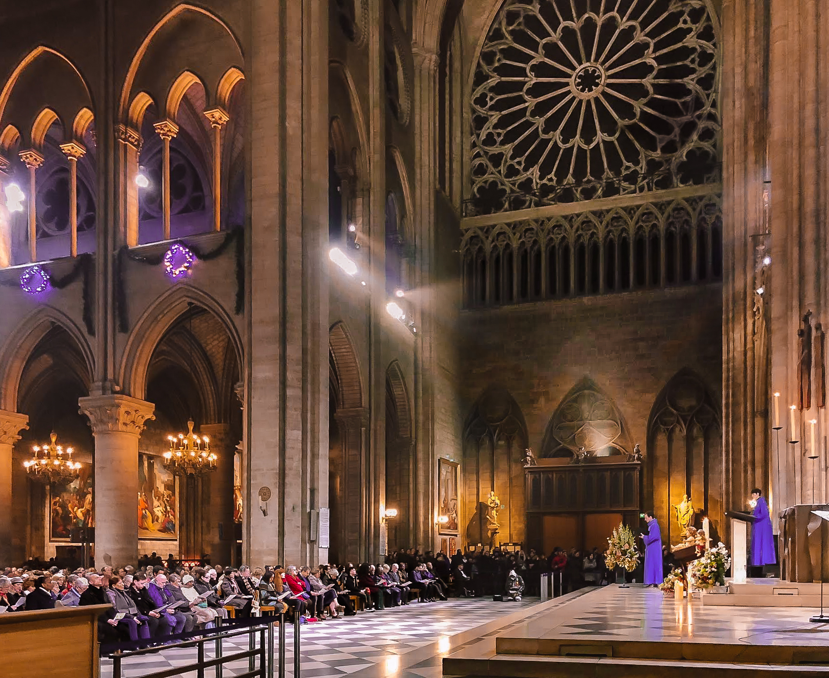 Mass inside Notre-Dame cathedral Paris