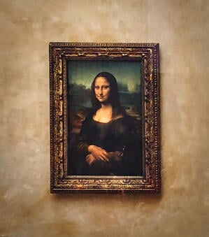 Painting of Mona Lisa inside Louvre Museum