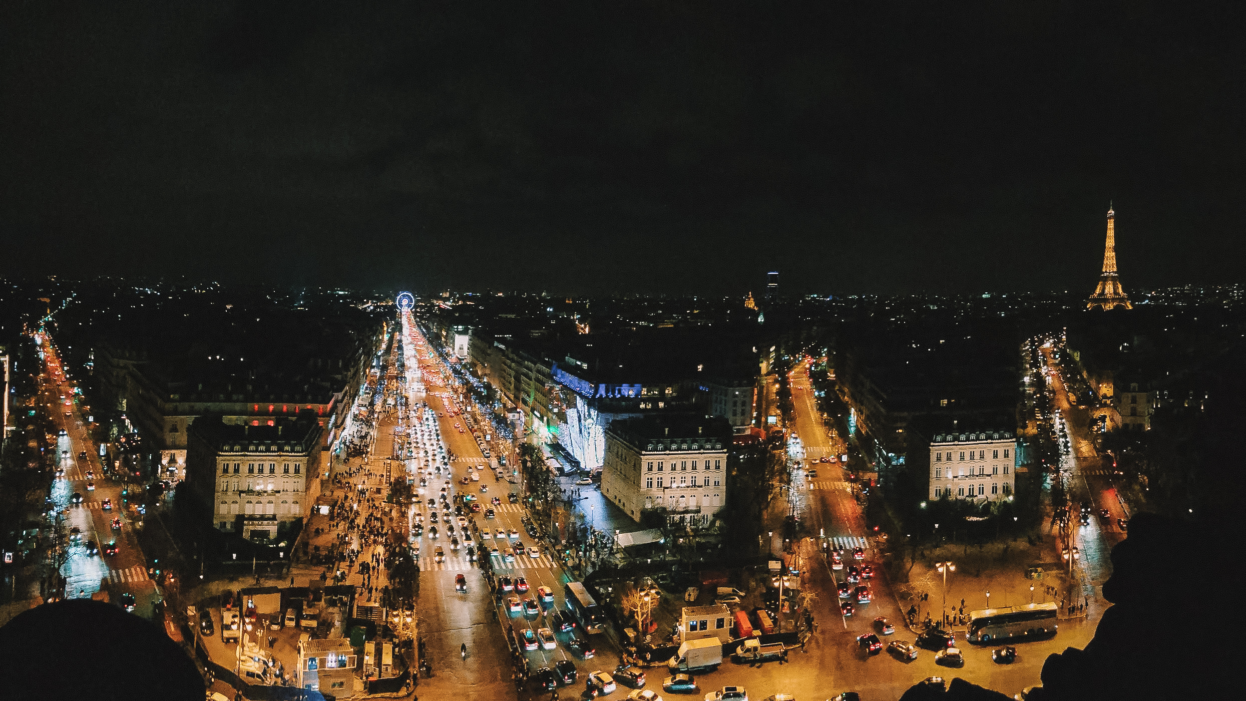 Panoramic view of Paris from Arc de Triomphe at night