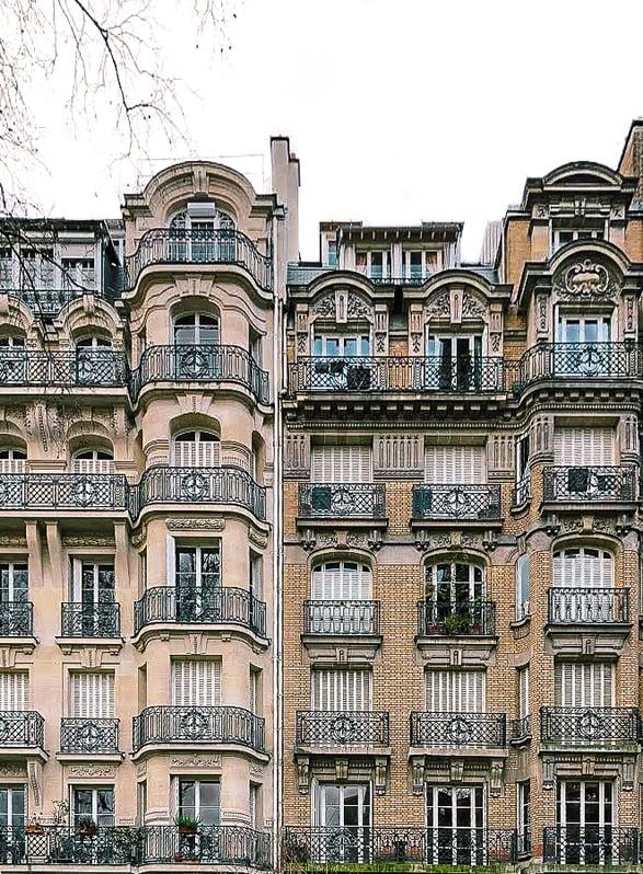 Architecture of balconies in Paris