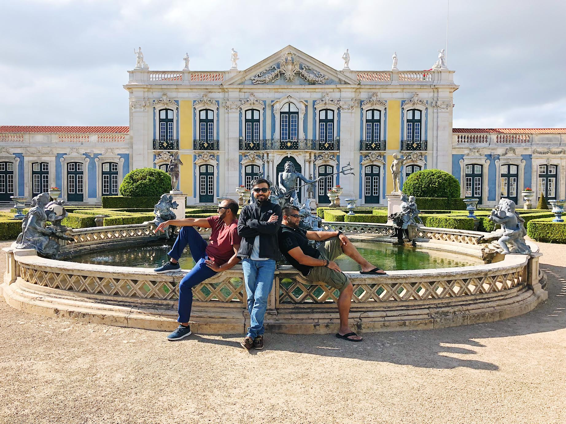 Muslim-travel-guide-Sintra-Portugal-Palace-of-Queluz-fountain-of-Neptune-boys