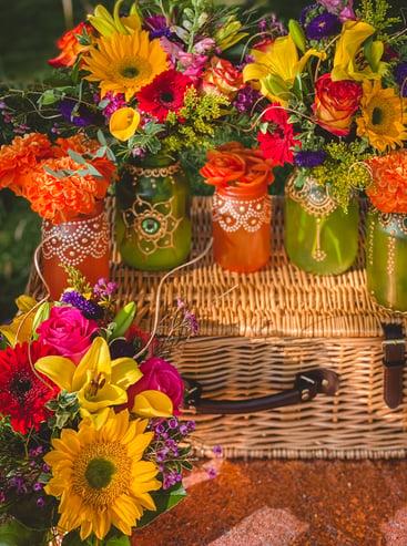 Colorful flower arrangements for Eid picnic